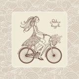 Girl On Bicycle Stock Photos