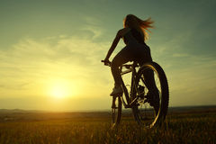 Girl on a bicycle. In the sunset Royalty Free Stock Photos