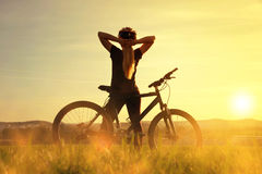 Girl on a bicycle. Stock Photography
