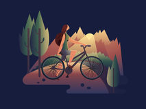 Girl on bicycle at sunset. Summer girl bike, travel woman, vacation lifestyle, vector illustration Royalty Free Stock Image