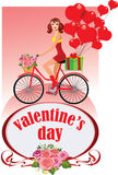 Girl on bicycle, valentine's day, give gifts, present heart. Vector illustration of  girl on bicycle, valentine's day, give gifts, present heart Royalty Free Stock Images