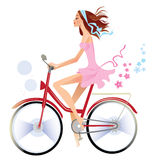 Girl on bicycle vector illustration