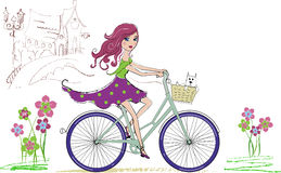 Girl on bicycle Royalty Free Stock Photos