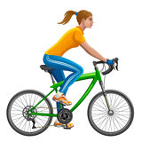Girl on a bicycle. On a white background stock illustration