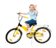 Girl on bicycle on white Stock Photos