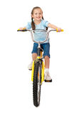 Girl on bicycle on white Stock Images