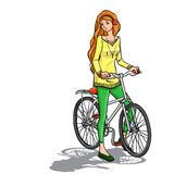 Girl and bicycle Royalty Free Stock Photography