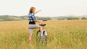 Girl With Bicycle stock footage