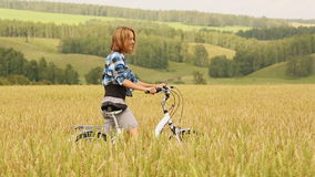 Girl With Bicycle stock video footage