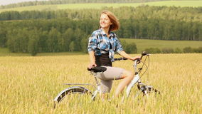 Girl With Bicycle stock video