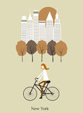 Girl on a bicykle. Vector Stock Image