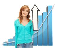 Girl with big 3d chart holding arrow sign Royalty Free Stock Photography