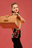 Girl with a big bag Royalty Free Stock Photo