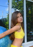 Girl with big ball for fitness Royalty Free Stock Photos