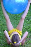Girl with big ball for fitness Stock Images