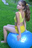 Girl with big ball for fitness Stock Photo