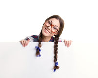 Girl and big banner Royalty Free Stock Images