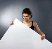 Girl with big banner Royalty Free Stock Image
