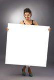 Girl with big banner Stock Image
