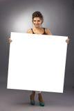 Girl with big banner Stock Image