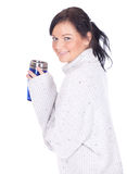 Girl with big blue cup Royalty Free Stock Photography