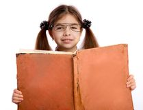 Girl With Big Book Stock Images