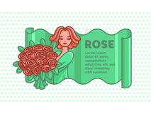 Girl with a big bouquet of roses. stock illustration