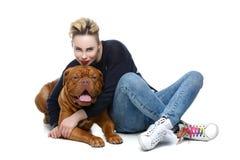 Girl with big brown dog royalty free stock photo