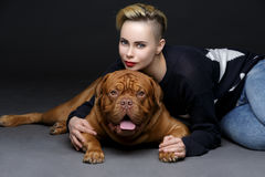 Girl with big brown dog Stock Photo