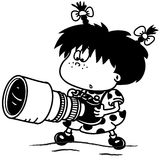 Girl with a big camera. Girl with a big heavy camera looks at him in amazement Royalty Free Stock Photos