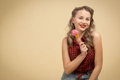 GIRL WITH BIG CANDY Stock Photo
