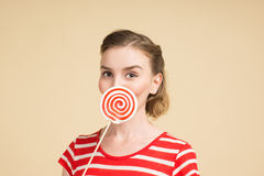 GIRL WITH BIG CANDY Stock Photos