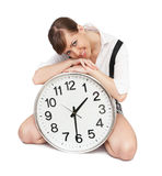 Girl with big clock Stock Photo