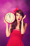 Girl with big clock Stock Photos