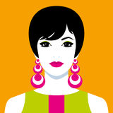 Girl with big colorful earrings Stock Images