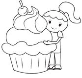 The girl and the big cupcake coloring page. Useful as coloring book for kids Stock Photography
