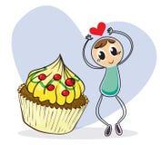 A girl beside a big cupcake Stock Photos