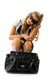 Girl with big fashion bag Stock Images