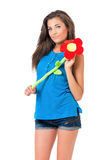 Girl with big flower Royalty Free Stock Photography
