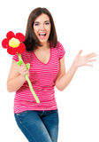 Girl with big flower Royalty Free Stock Images