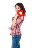 Girl with big flower Stock Image