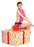 Girl with big gift box. Holiday. Stock Photos