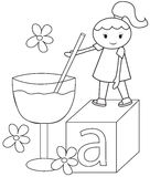 The girl and the big glass coloring page Stock Images