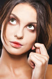 Girl with big green eyes Stock Photo