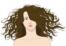 Girl with Big Hair Royalty Free Stock Image