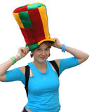 Girl in the big hat. Girl in the big multi-coloured hat on a white background Stock Image