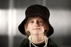 Girl with big hat Royalty Free Stock Photo