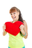Girl with big heart Stock Image