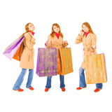 Girl with big heavy giant shopping Royalty Free Stock Images