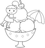 The girl and the big ice cream coloring page Royalty Free Stock Photography
